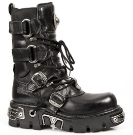 575 S1 New Rock Goth Boots High Quality Black Leather Buckled Punk Boot
