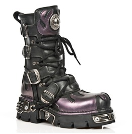 591 S1 New Rock Punk Boots High Quality Leather Purple Flame Goth Boot