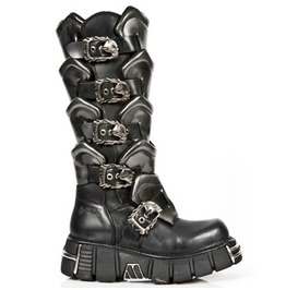 738 New Rock High Goth Boots Quality Black Leather Steel Tower Punk Boot