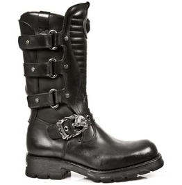 7604 New Rock Motorcycle Boots High Quality Black Leather Biker Boot