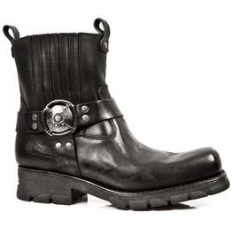 7605 New Rock Biker Boot High Quality Leather Biker Ankle Motorcycle Boots