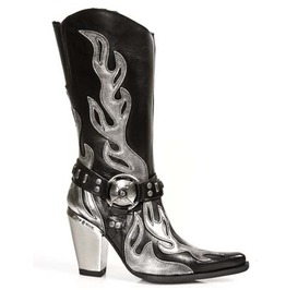 7901 Ladies New Rock High Quality Metallic Heel Black Leather Cowboy Boots