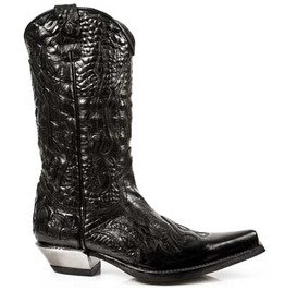 7921 S1 New Rock High Quality Black Leather Cowboy Boot $26 Shipping