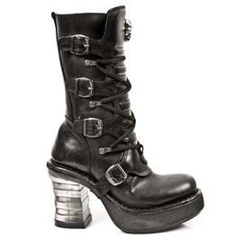 8373 New Rock High Quality Metallic Heel Buckle Goth Boot $26 To Ship