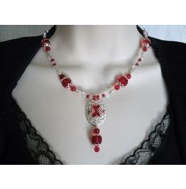 Crimson Red Necklace, Goth Steampunk Victorian Retro Fashion