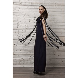 Maxi Fringe Dress / Navy Dress Fringing / Long Dress/ Kaftan