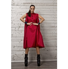 Red Midi Oversize Dress/Plus Size Red Dress/Long Draped Red Dress/Draped