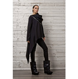 Black Asymmetric Top Zippers /Long Sleeve Top/ Asymmetric Black Shirt
