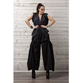 Black Draped Pants / Draped Wide Leg Trousers / Black Draped Palazzo Pants