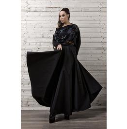 Maxi Black Skirt/ Long Black Skirt/ Oversize Long Skirt