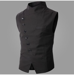 Mens Black/Gray Colors Casual Slim Fit Vests