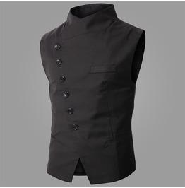 Mens Black/Gray Colors Casual Slim Fit Vests