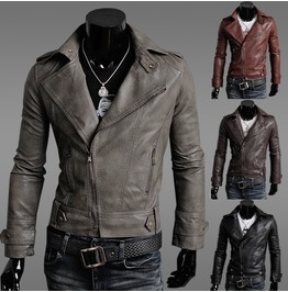 Mens Black/Brown/Khaki/Red Pu Leather Jacket