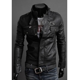 Men's 3 Colors Slim Fit Pu Leather Jacket