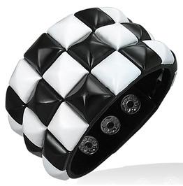 Genuine Black Leather Checker Row Pyramid Stud Snap Wristband Bracelet