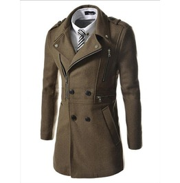 Mens Multi Zipper Long Winter Coat
