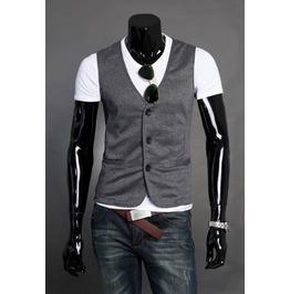 Black/Gray/Light Gray Mens Casual Suit Vest Top