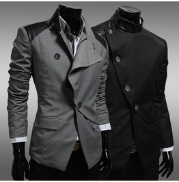 Mens Black/Gray British Style Jacket