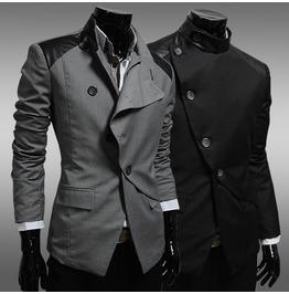 Mens Black/Gray British Style Jacket