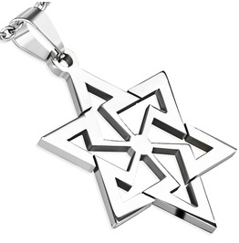Stainless Steel Cut Geometric Star David Pendant Chain Tpb174