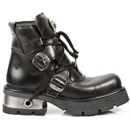 M.988 S1 New Rock High Quality Leather Metallic Black Goth Boot $25 To Ship