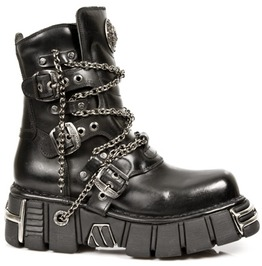New Rock Goth Boots High Quality Leather Chain Buckle Punk Boot M.1011 S1