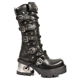 New Rock High Quality Knee Length Gothic Punk Buckle Boot 1016 Goth Boots
