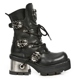 1044 New Rock High Quality Goth Metallic Skull Button Punk Boot $26 To Ship