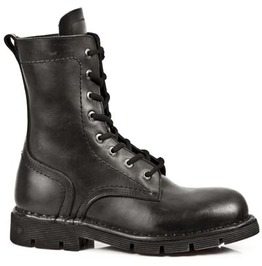 1423 New Rock High Quality Black Leather Combat Military Boot $26 To Ship