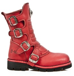 M.1471 S6 New Rock High Quality Red Leather Buckle Boot $26 To Ship