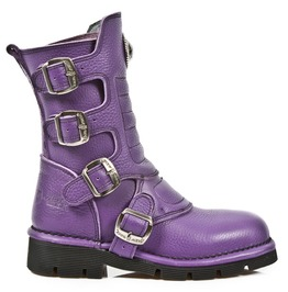 M.1471 S7 New Rock High Quality Purple Leather Buckle Boot $26 To Ship