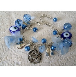 Evil Eye Pentacle Bracelet, Goth Pentagram Witchcraft Witch