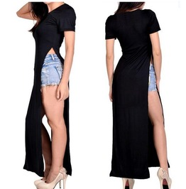 High Side Slits Black Summer Ankle Length T Shirt Dress