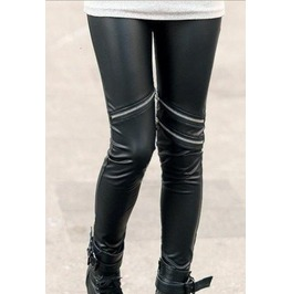 Black Leggings Metallic Zippers