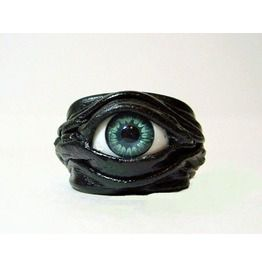 Evil Eye Adjustable Black Genuine Leather Ring. Evil Eye Leather Jewelry.