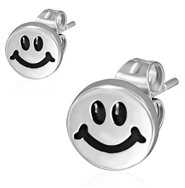 8mm Stainless Steel 2 Tone Happy Smiling Smiley Circle Stud Earrings Pair