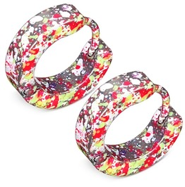 Stainless Steel Yellow Red Splatter Colorful Huggie Earrings Pair Med16