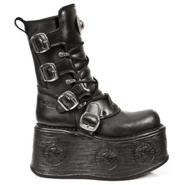 New Rock High Quality Black Leather Goth Platform Punk Boots 1473 S3