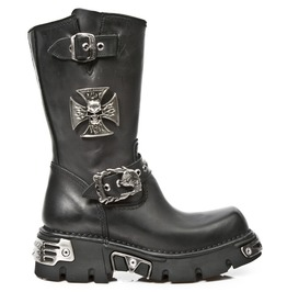 New Rock Motorcycle Boots High Quality Skull Cross Leather Biker Boot 1601