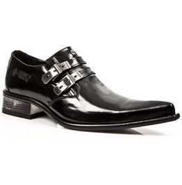 New Rock Men's Goth Shoes 2 Buckle Metal Block Heel Pointed Dress Shoe $224