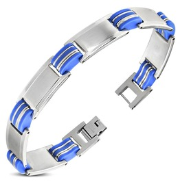 Stainless Steel Blue Rubber Panther Link Bracelet Bba566