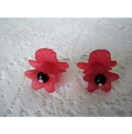 Red Flower Earrings, Rockabilly Pin Up Goth Retro Fashion