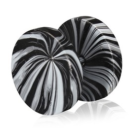 Black White Marble Color Coated Stainless Steel Faux Ear Plug Pair