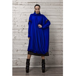 Cobalt Blue Midi Dress/Blue Oversize Dress Long Sleeves/ Plus Size