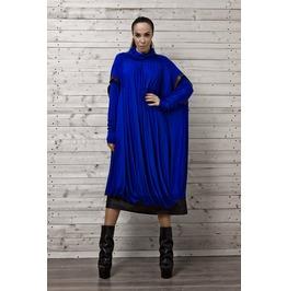 Cobalt Blue Midi Dress/Blue Oversize Dress Long Sleeves/ Plus Size