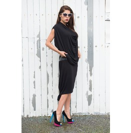 Black Draped Dress/ Leather Detail Dress/Draped Tunic/Long Dress Leath