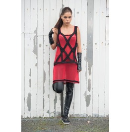 Innovative Red Mesh Fabric Vest/ Cotton Mesh Long Top/ Red Tank Top