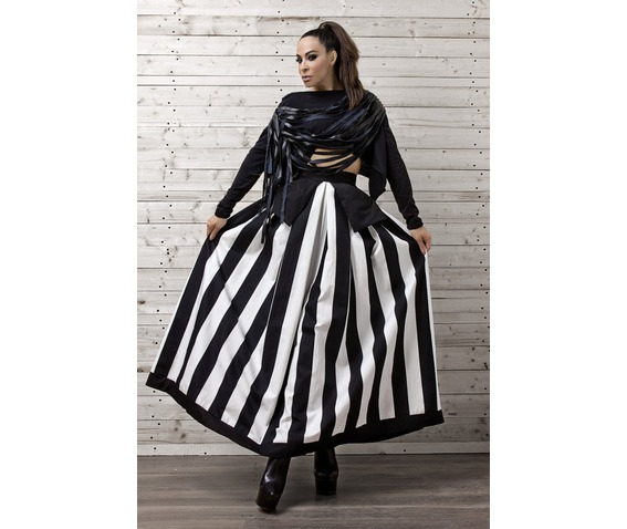 Line Striped Maxi Skirt / Monochrome Maxi Skirt / Oversize Long Skirt