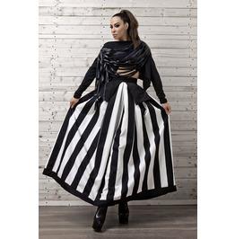 Line Striped Maxi Skirt / Monochrome Maxi Skirt / Oversize Long Skirt