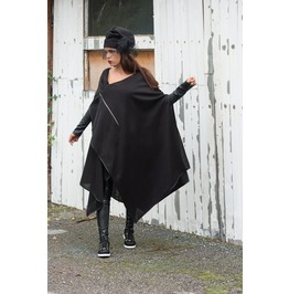 Asymmetric Extravagant Black Jacket/ Long Black Vest/ Black Cotton Cardigan